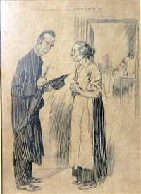 convalescent: rev caller: well, mrs jones, and is the good man any better? by norman alfred williams lindsay