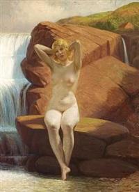 badepige på en klippe ved et vandfald by wilhelm pacht