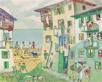 vista de un pueblo pesquero by aurelio arteta y errasti