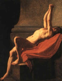 nude lying on a red cloak, his arms raised in an attitude of supplication by jean louis david