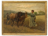 plowing of the fields by edouard bernard debat-ponsan