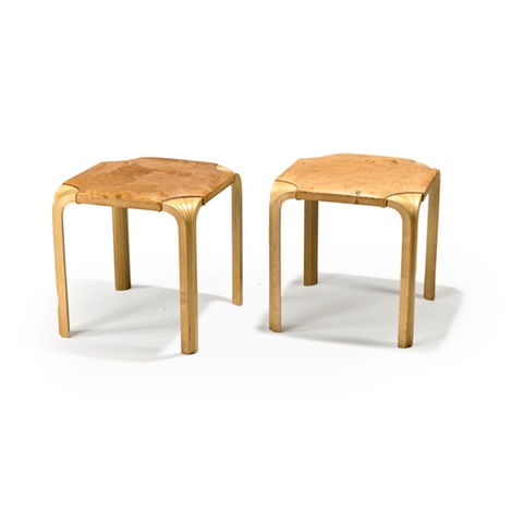fan leg stools pair by alvar aalto
