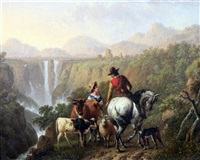 travellers in an italianate landscape with waterfalls by charles towne