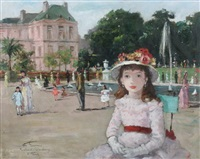 girl in hat in luxembourg gardens, paris by françois gerome