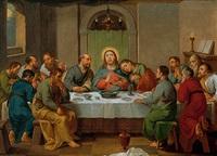 christus im kreis der jünger beim letzten abendmahl by konrad huber von weissenhorn