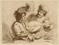 die musikstunde (after guercino) by francesco bartolozzi