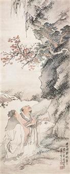 石出倒听枫叶下 (scholar) by xu cao