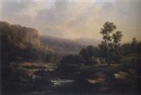 bergslandskap med hus och vattendrag by lars theodor billing