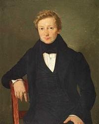 portræt af en ung siddende herre i sort jakkesæt og med guldring på pegefingeren by louis auguste francois aumont