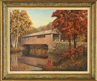 autumnal view of a covered bridge by josef m. arentz
