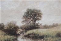 frühlingslandschaft mit blühenden wiesen, bachlauf, busch- und baumwerk by norman m. macdougall