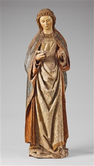 a carved walnut high relief figure of saint agnes by pietro alamanno