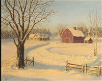 view of a barn and a country home in a winter landscape by josef m. arentz