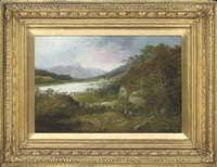 a peaceful cottage by a river (+ a tranquil cottage by a lake; pair) by w. richards