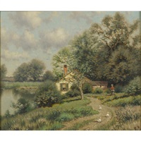 Pastoral landscape with figure and ducks
