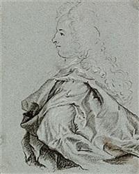 mansporträtt i profil, iklädd allongeperuk by lucas van breda