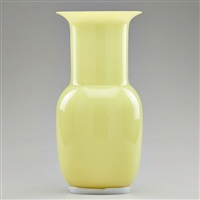 incamiciato yellow cased glass vase with applied double-ribbed foot by tomaso buzzi