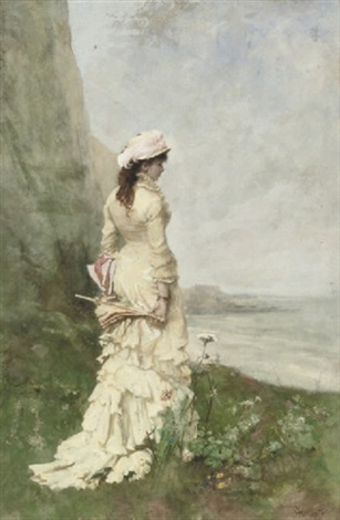 an elegant lady by the sea by ferdinand heilbuth