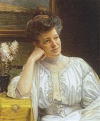 portræt af kunstnerens hustru bertha dorph by niels vinding dorph