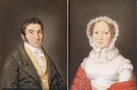 herren- und damenporträt (pair) by edvard lehmann