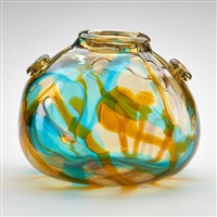 bulbous vase with applied decoration by ferro murano