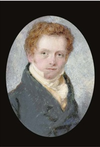 mr george watson, in blue coat and yellow waistcoat, red curling hair by t. wheeler