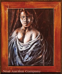portrait of a nude woman draped in cloth by noel rockmore