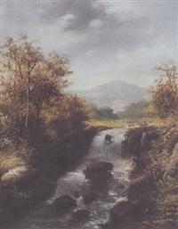 bjerglandskab med flodlob by r. marshall