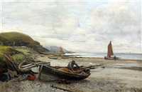 fisherman on a beach at low tide by john rennie miller
