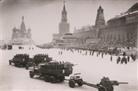 trucks and artillery in red square by samarly gurarly