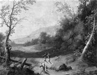 hügellandschaft mit wanderern by jakob christian (christoph) seng