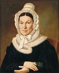 portrait einer dame im typischen habit des biedermeier by wendelin moosbrugger