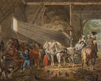 interior of a barn with horses, carriage and rider by tethart philip christian haag
