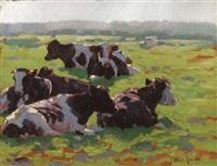 lagernde kühe im sonnenschein by johannes wilhelm van der heide
