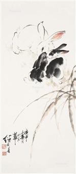 双兔图 (two rabbits) by liu jiyou