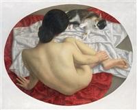 女人·猫 (woman and cat) by hu jiancheng