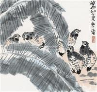 芭蕉鹌鹑 挂轴 设色纸本 by li kuchan