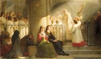 andächtige gläubige lauschen dem kirchenchor in effektvoll beleuchteter kirche by louis françois prosper roux