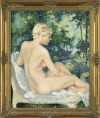 nude seated in a landscape by franz josef bolinger