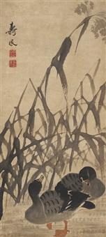 芦岸双鹜图 (egrets by river) by bian shoumin