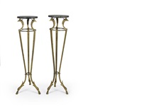 torchere stands (pair) by maison jansen