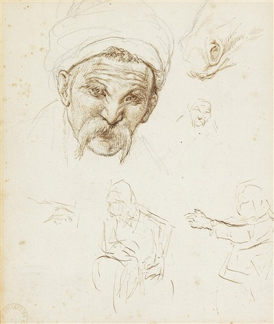 the head of a cossack sketches of heads figures and a horses head