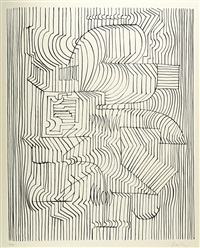abstrakte komposition mit linien. bl. aus dem album cinétique by victor vasarely