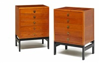 moduline chests of drawers (model ch-304) (set of 2) by ole gjerlov-knudsen & torben lind
