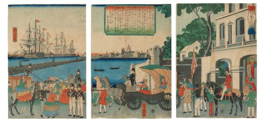 bankoku meisho zukushi no uchi oban tate e igirisu london kaiko 2 works by utagawa yoshitora