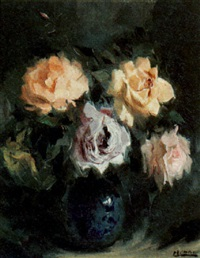still life with roses in a vase by louis auguste victor henno