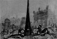 eine kriegerische auseinandersetzung vor einem obelisken und einer toranlage by augustus (snip) terwesten