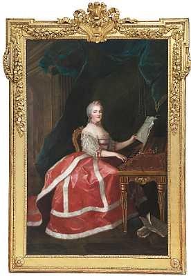 portræt af madame marie louise thérèse victoire i rod kjole kantet med mink siddende ved et clavecin by anne baptiste nivelon