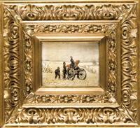 preussische artillerie an der kanone in verschneiter landschaft by christian sell the elder