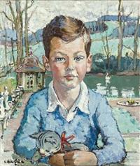 en-face-portrait des sohnes michael mit junger katze vor parklandschaft by constantine kluge